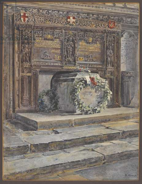 The Buffs' memorial warriors' chapel, Canterbury Cathedral, c.1920 (w/c on paper)