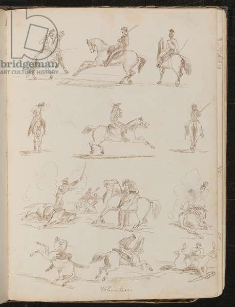 Twelve pen studies inscribed 'Volunteers', six of a soldier on horseback, six of soldiers on horseback in battle (pen and ink)