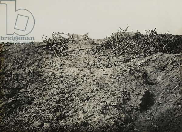 Wrecked waggons at Guillemont railway station, September 1916 (b/w photo)