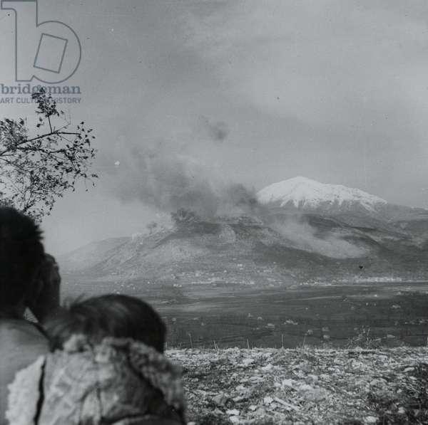 The heavy bombardment of Monte Cassino monastery, February 1944 (lantern slide)