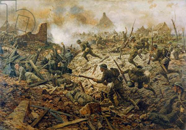 The Territorials at Pozieres on 23rd July 1916, 1917 (oil on canvas)