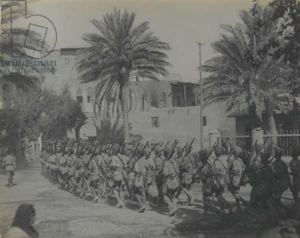 Indian troops entering the Citadel Gate, Baghdad, 1917 (b/w photo)