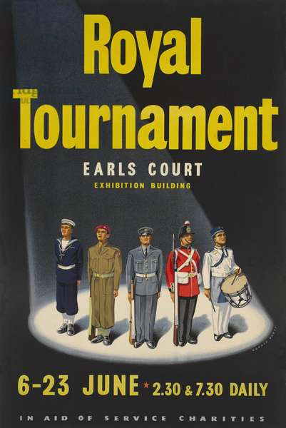 Poster of mixed units for the Royal Tournament, 1956 (colour litho)