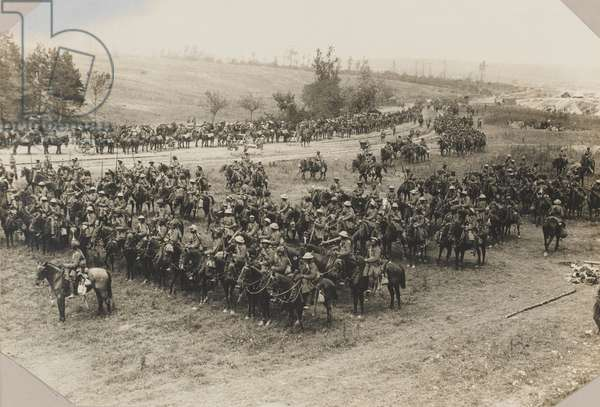 18th King George's Own Lancers near Mametz, Somme, 15 July 1916 (b/w photo)