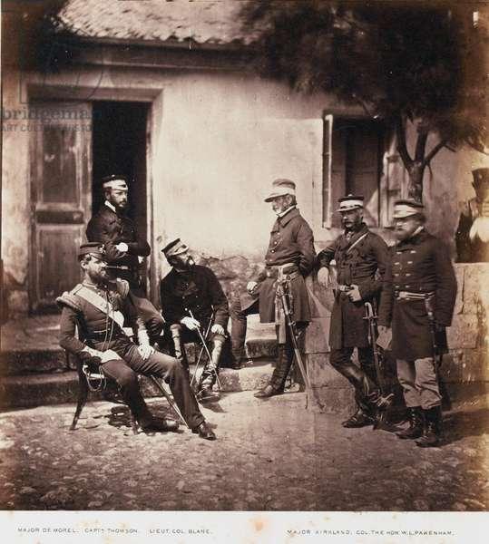 Major-General James Bucknall Bucknall Estcourt and Staff, from an album of 52 photographs associated with the Crimean War, 1855 (b/w photo)