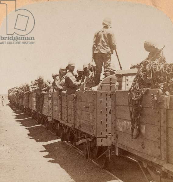 British soldiers aboard railway wagons, c.1900 (photograph, stereoscopic)
