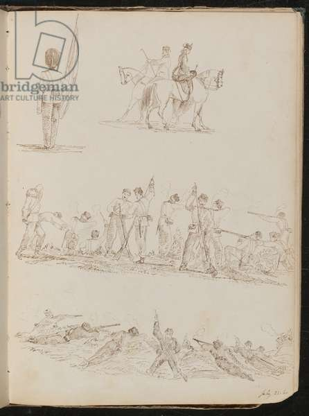 Four studies of soldiers, women riding and battles (pen and ink)