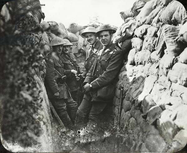 Officers of the Royal Engineers in a communication trench on the Somme, 1 July 1916 (b/w photo)