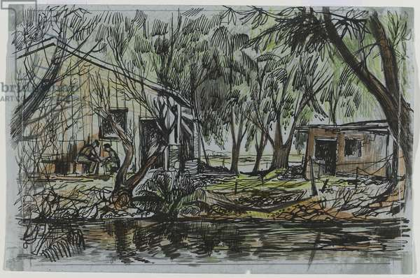Sweet-water Canal, 1952 (pen & ink and pastel on paper)