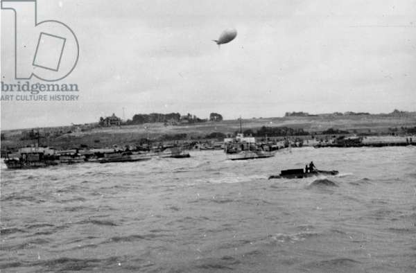 Invasion craft of Mont Fleury, Normandy, 0900 hours, 7th June, 1944 (b/w photo)