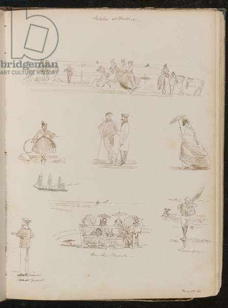Studies of men and women 'On the Parade', a man with a net labelled 'Shrimper', a sailor labelled 'Coast guard', dated 'May 28-61' (pen and ink)