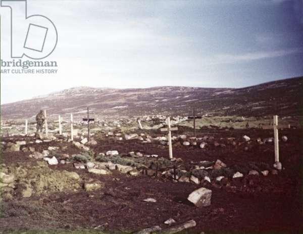 Graves, including that of Lieutenant Colonel Herbert H Jones VC, 2nd Battalion Parachute Regiment, Ajax Bay, 1982 (photo)
