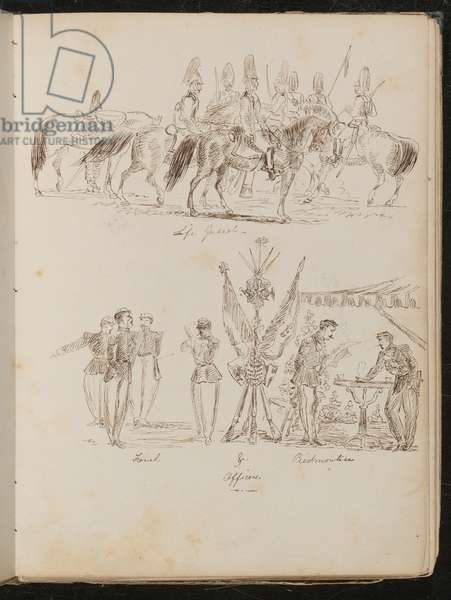Study of soldiers on horses inscribed 'Life Guards', study of groups of soldiers with flags, smoking and drinking (pen and ink)