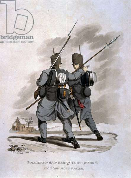 Soldiers of the 1st Regiment of Foot Guards in Marching Order, from 'Costumes of the Army of the British Empire, according to the last regulations 1812', engraved by J.C. Stadler, published by Colnaghi & Co. 1812-15 (coloured aquatint)