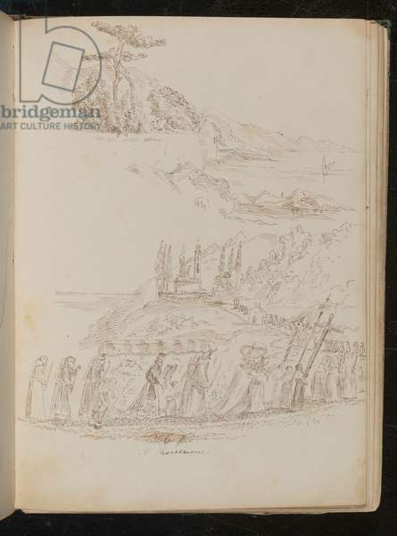 Study of a monastic 'Procession' in a coastal landscape (pen and ink)