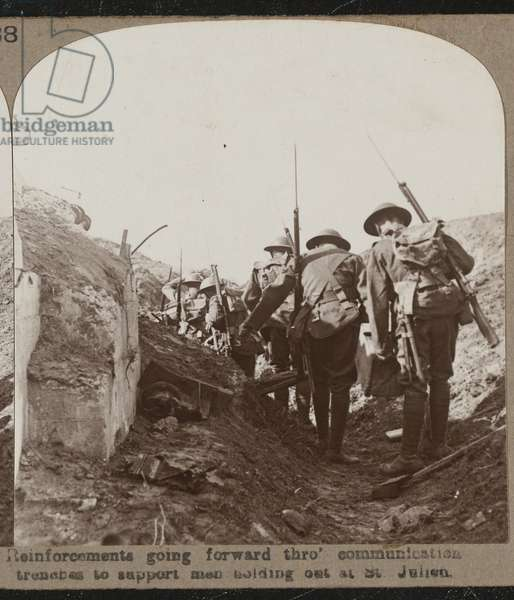 Reinforcements going forward through communication trenches to support men holding out at St Julien', 1917 (b/w photo)