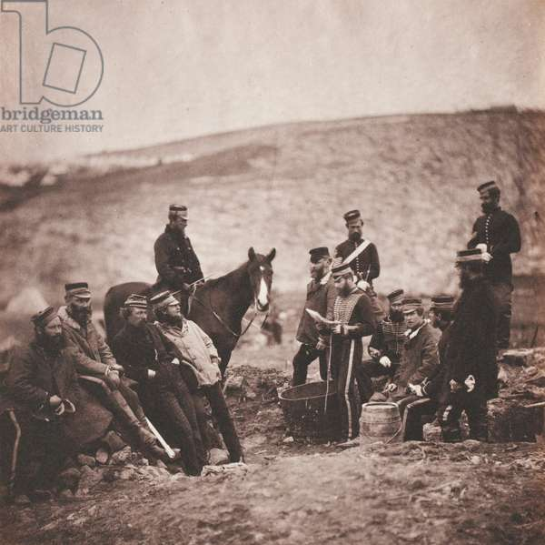 Officers and Men of the 8th (The King's Royal Irish) Light Dragoons (Hussars) from an album of 52 photographs associated with the Crimean War, 1855 (b/w photo)