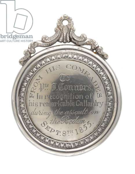 Silver Regimental Medal, Private John Connors, 3rd (The East Kent) Regiment of Foot (The Buffs), 1855   (metal)