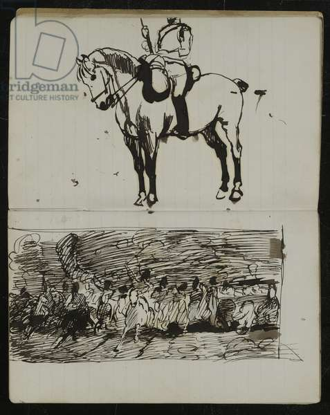 Study of the Battle of Waterloo, a preliminary sketch for the oil painting 'Scotland for Ever!', c.1880 (pen & ink on paper)