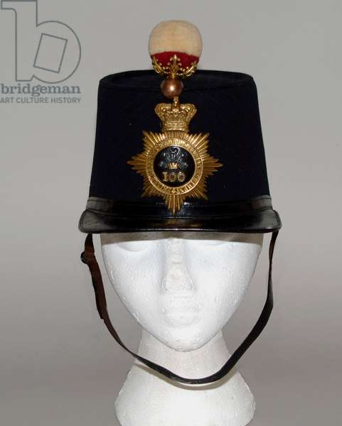 Shako, 1861-1869 pattern, worn by Lieutenant W Richie, 100th (Prince of Wales's Royal Canadian) Regiment, 1864