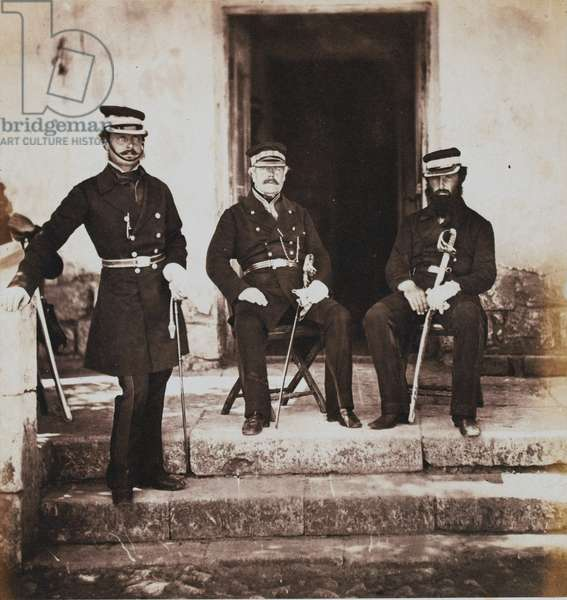 Major-General Henry Frederik Lockyer and two of his Staff, from an album of 52 photographs associated with the Crimean War, 1855 (b/w photo)