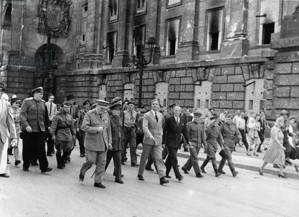 Prime Minister Winston Churchill and Foreign Secretary Anthony Eden with delegates to the Potsdam Conference, July 1945 (b/w photo)
