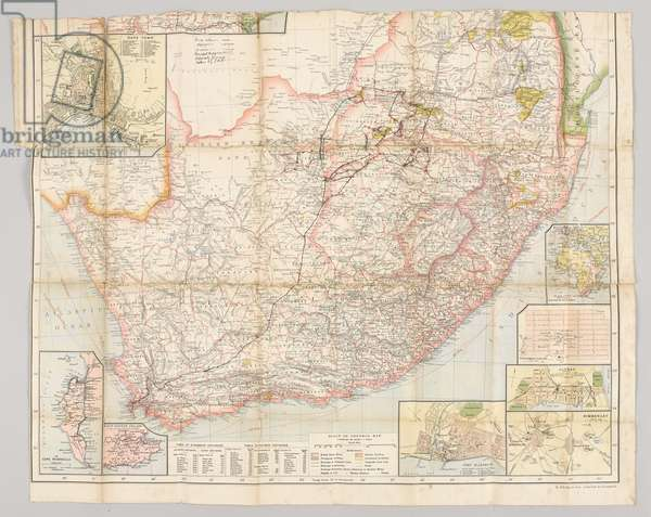 Copy of Pte Josiah Egerton Hill's undated map of South Africa, showing the route taken by the South Nottinghamshire Yeomanry, 1900-01 (litho)