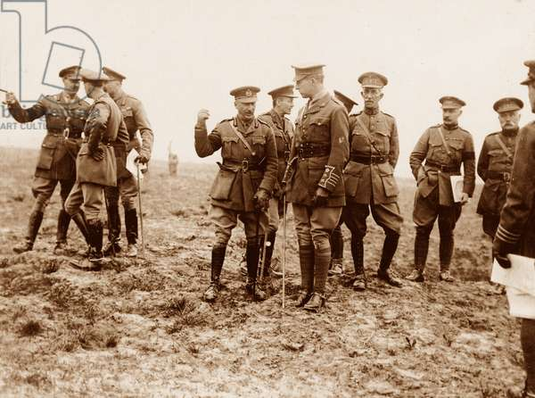 Gen Hubert Gough and King Albert of the Belgians on the old Somme battlefield, 1916-17 (b/w photo)