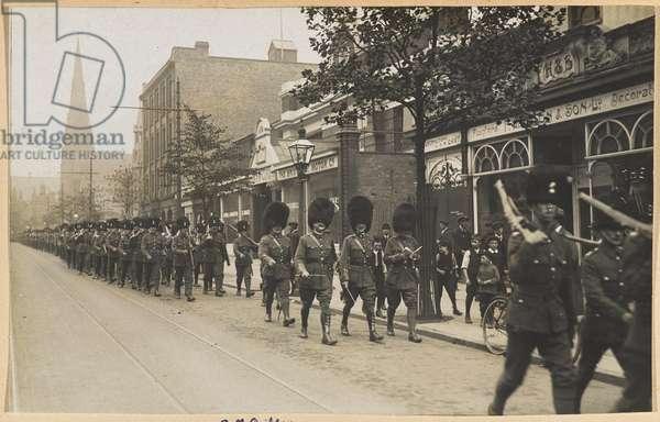 2nd Royal Munster Fusiliers on strike duty, Railway Strike, Birmingham, August 1911 (b/w photo)