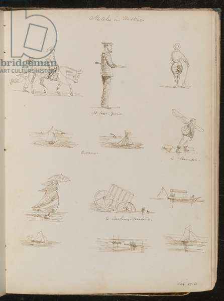 Studies of children, a sailor inscribed 'A Coast-guard', six studies of boats  inscribed 'Cutters', a Shrimper, a woman with a parasol, dated 'May 27-61' (pen and ink)