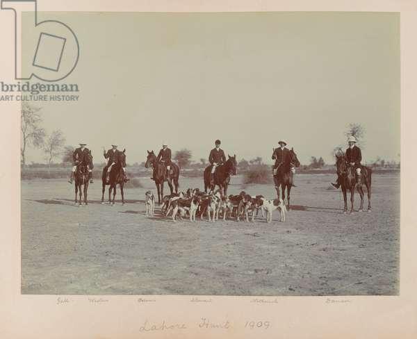 Lahore Hunt, 1909 (b/w photo)