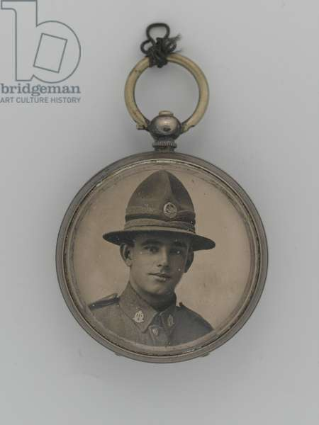 Photograph of Private William Henry Ellen, 1st Battalion, The Auckland Regiment, contained within pocket watch case, 1916 circa. (b/w photo)