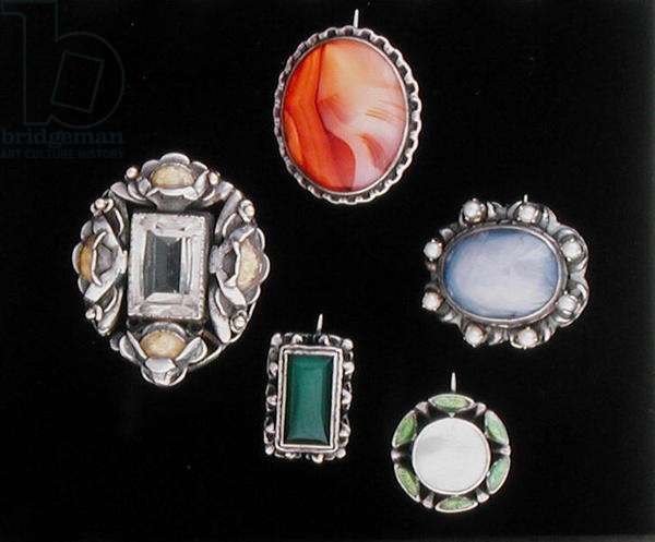 Brooches (silver, gemstones & enamel)