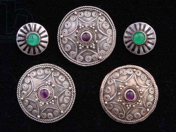 Brooches (metal & semi-precious stones)
