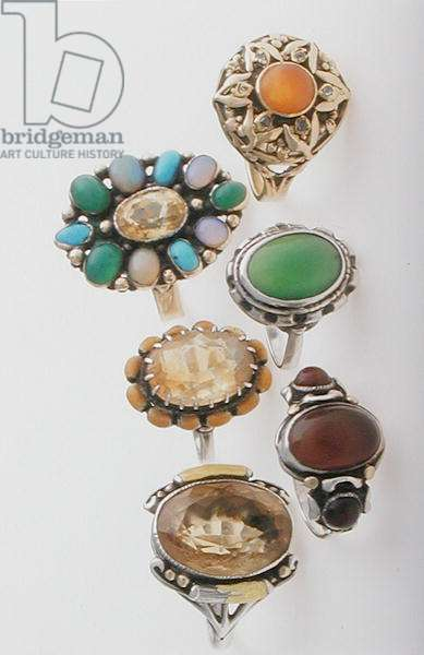 Collection of rings (silver, gold, and semi-precious stones)