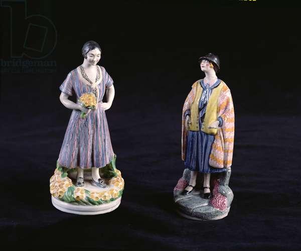 Figures of Ella Naper and Laura Knight (1877-1970) (ceramic)