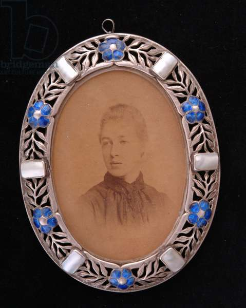 Pendant with miniature portrait (sepia print with metal & enamel frame)