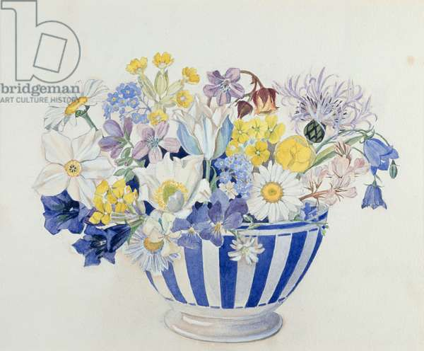 Spring Flowers in a Bowl (w/c on paper)