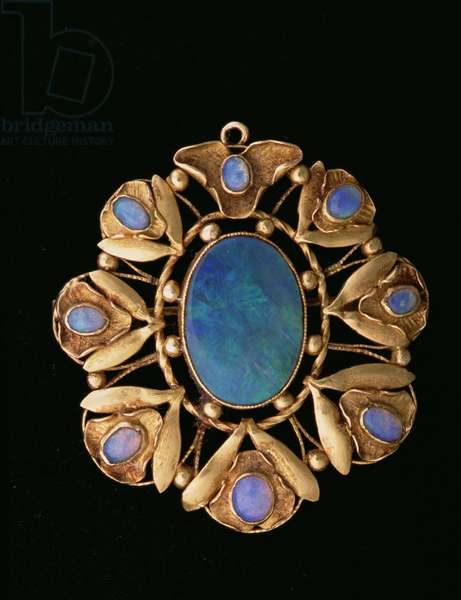 Blue and green gold pendant (gold, moonstone & mother of pearl)