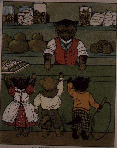 The Baker's Shop in Pussy-Land, page from an illustrated children's book