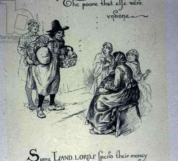 Dole to the Poor, 17th century Christmas customs (engraving)