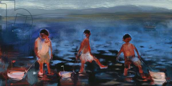 Three Boys with Boats, 2006 (oil on board)