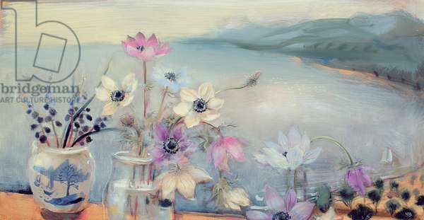 Wild Anemones and Grape Hyacinths, 2006 (oil on canvas)