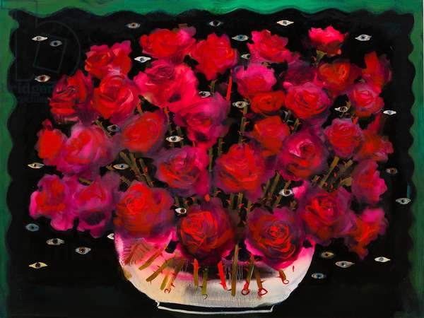 Rose bowl with eyes, 2014 (oil on linen)