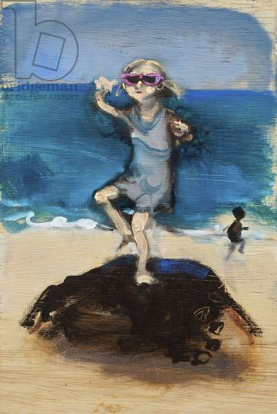 Girl Dancing on a Rock, 2008 (oil on wood)
