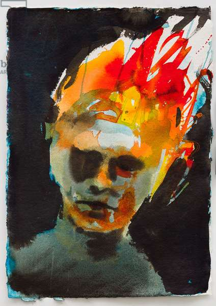 Boy with burning hair, 2013, (ink on handmade paper)