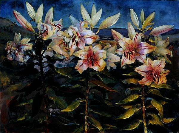 Lilies and Loe Bar, 2002 (oil on canvas)