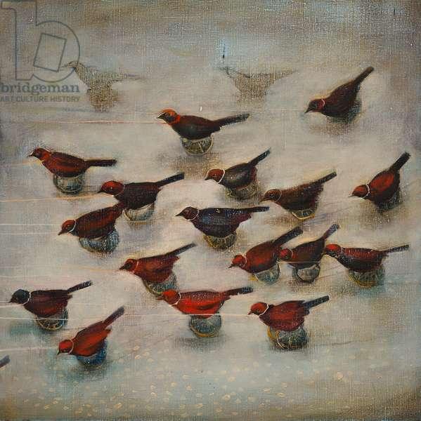 Birds on wheels, 2012, (oil on linen)
