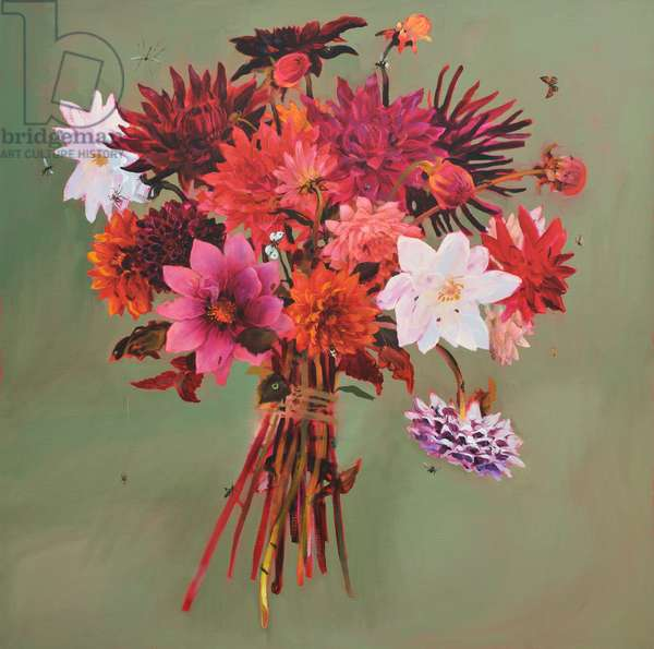Dahlias with insects, 2012, (oil on linen)