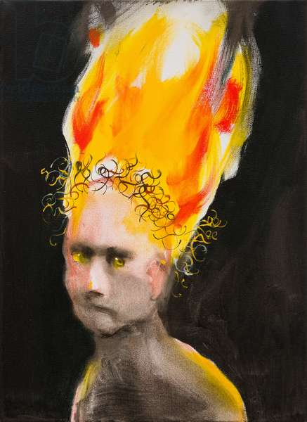 Boy with curly hair - burning, 2013 (oil on linen)
